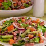 Овощной салат с ветчиной рецепт