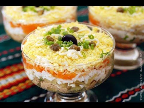 Салат с печенью и маринованными грибами